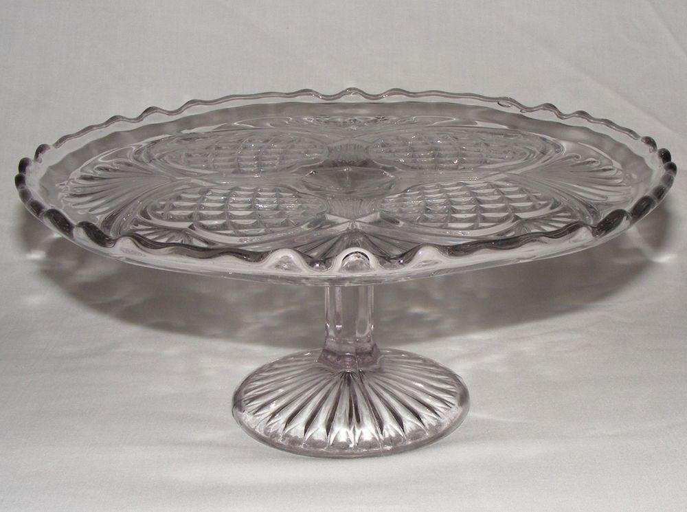 glass cake stand vintage