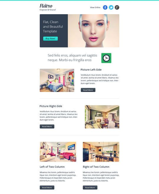 20 Best Flat Style Responsive Email Templates Newsletter - responsive email template
