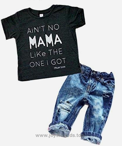 41836bec6589 Newborn Baby Boy Clothes T-shirt Top Tee +Denim Pants Outfits Set 18 ...