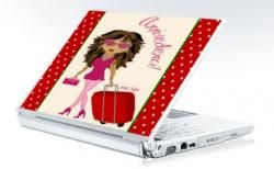 For the Jet-Set Diva, a whimsical skin for your laptop or netbook. Pink, Red, Sassy, Girly and did I mention pink?? :)