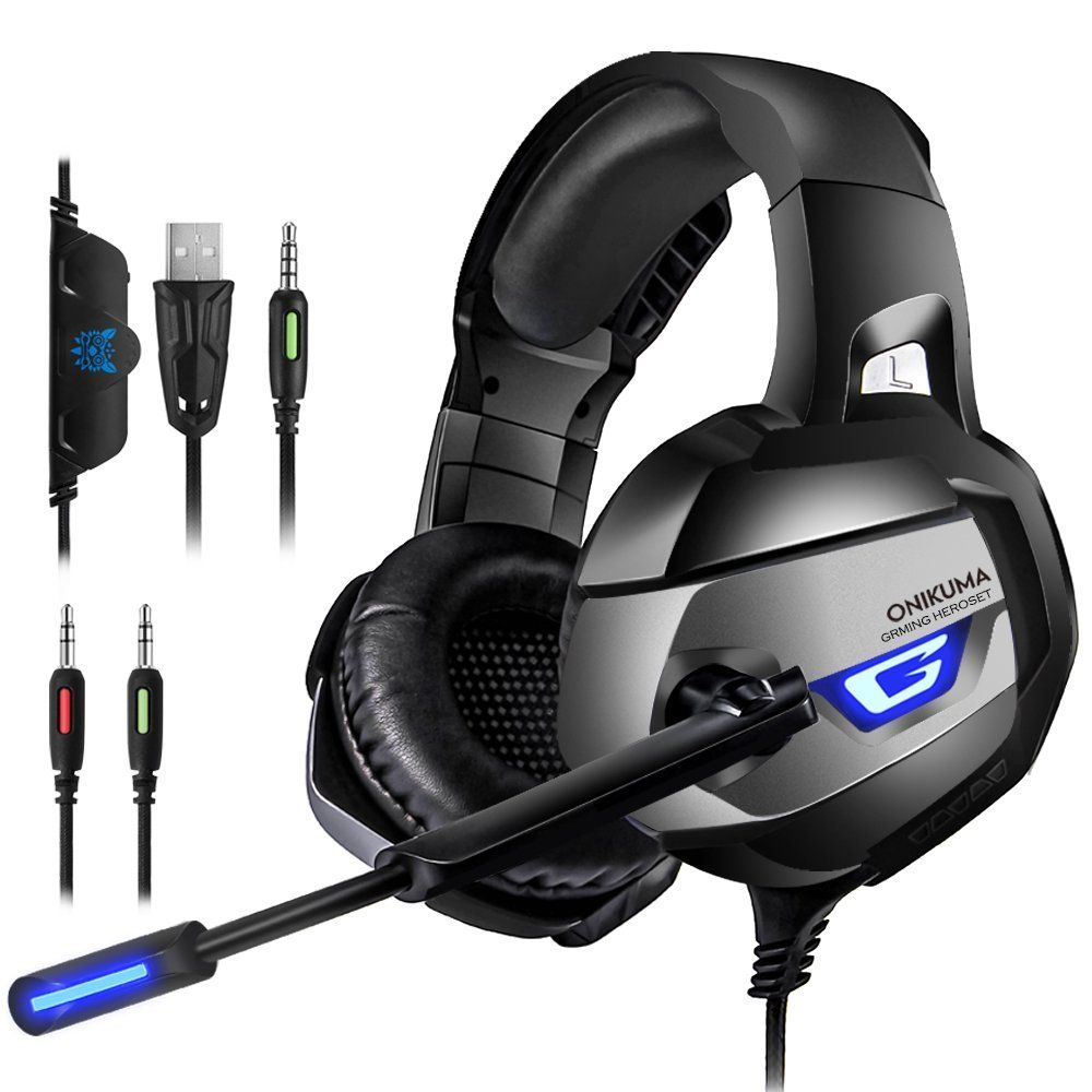 Amazon Gaming Headset For Ps4 Xbox One Adapter Need Nintendo Switch Audio Pc Gaming Headset With Crystal Clear Sound Led Lights Noise Canceling Microp Ps4 Gaming Headset Wireless Gaming Headset Gaming