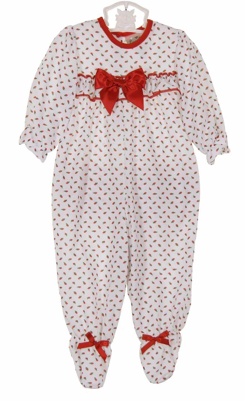 NEW Red Rosebud Print Ruffle Bottom Pajamas for Baby Girls $40.00 ...