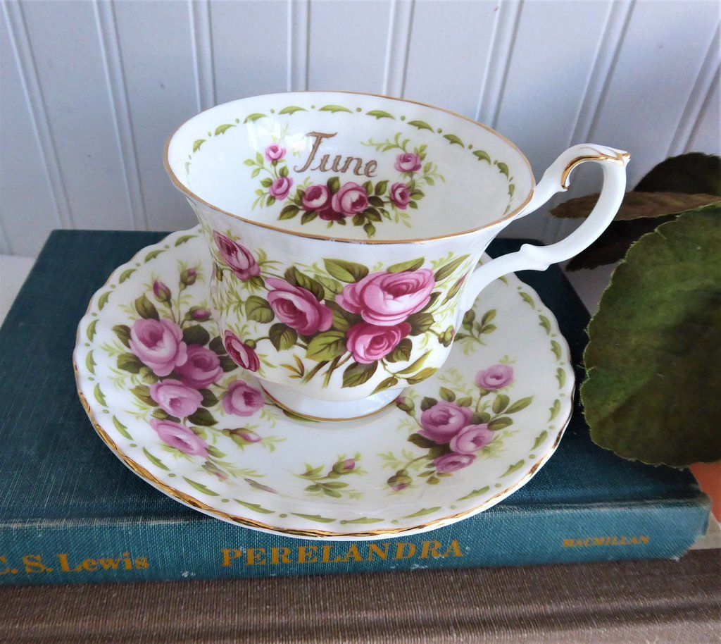 June Pink Roses Cup And Saucer Royal Albert Flower Of The