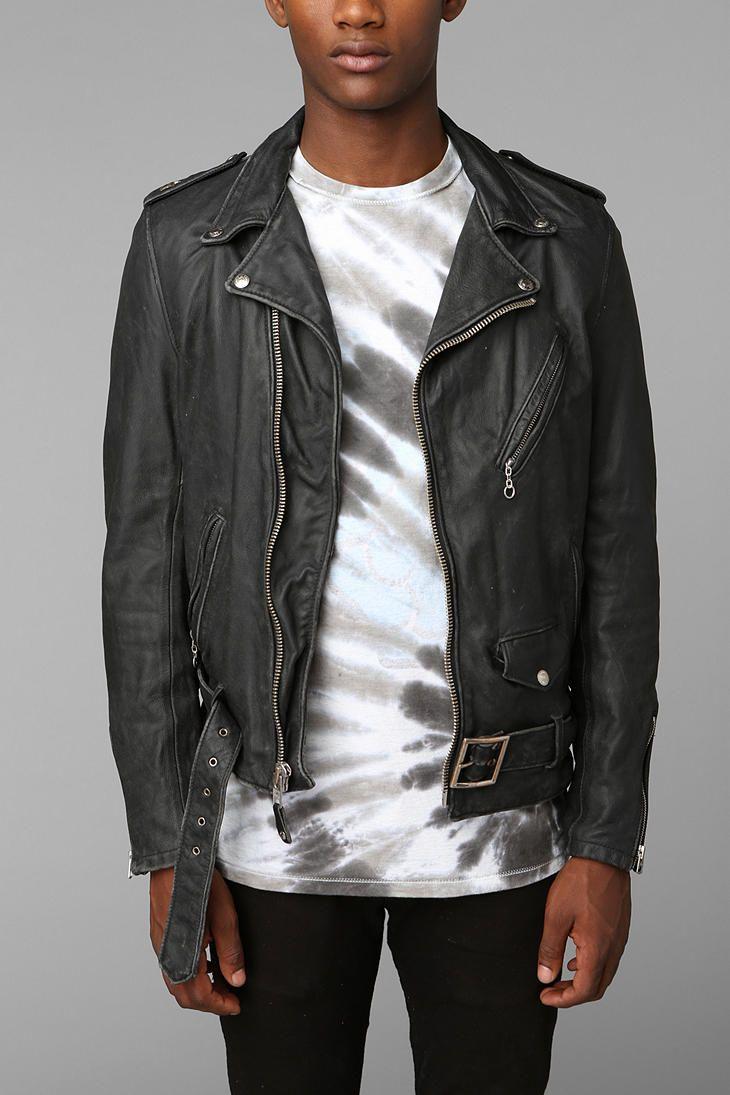Schott Beat Down Moto Leather Jacket Black Leather Biker Jacket Leather Jacket
