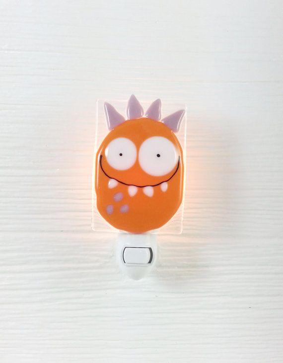Nightlight monster orange baby room decoration by VeilleSurToi, $35.00