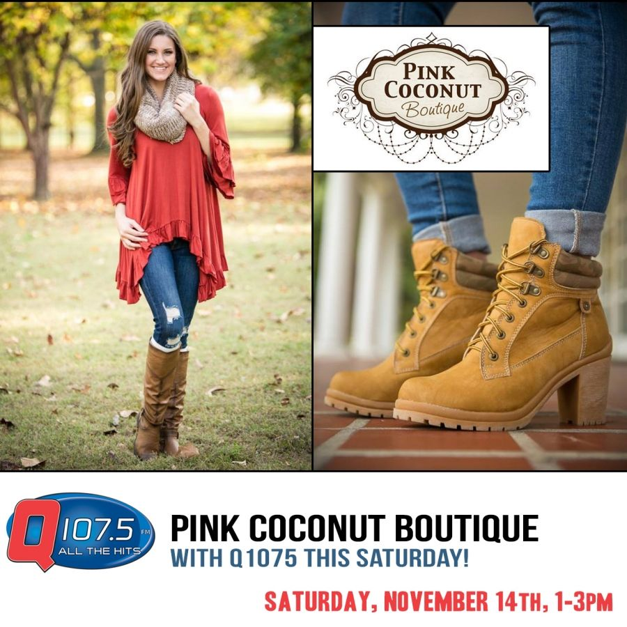 Join Q1075 at Pink Coconut Boutique this Saturday 1-3pm @ 5142 Goodman Rd in Olive Branch http://Q1075.com