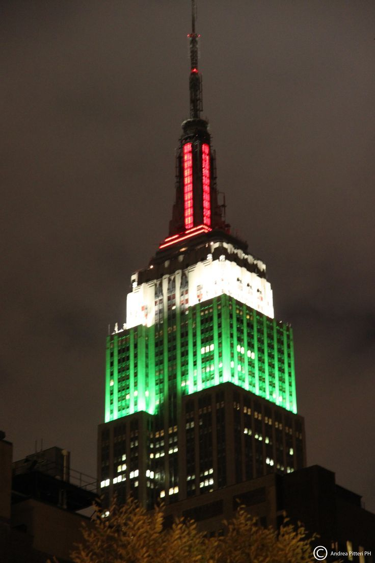 Empire State Building With Italian Flag Empire State Building Empire State Italian Flag