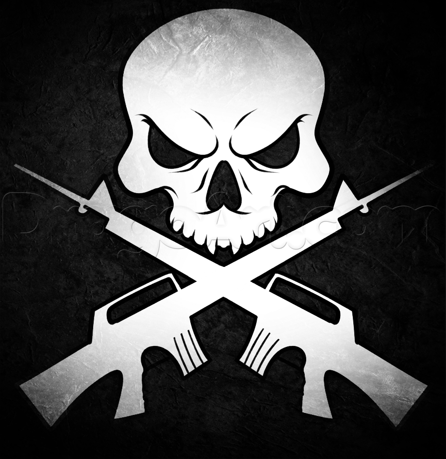 How To Draw Skull And Guns by Dawn Skulls drawing