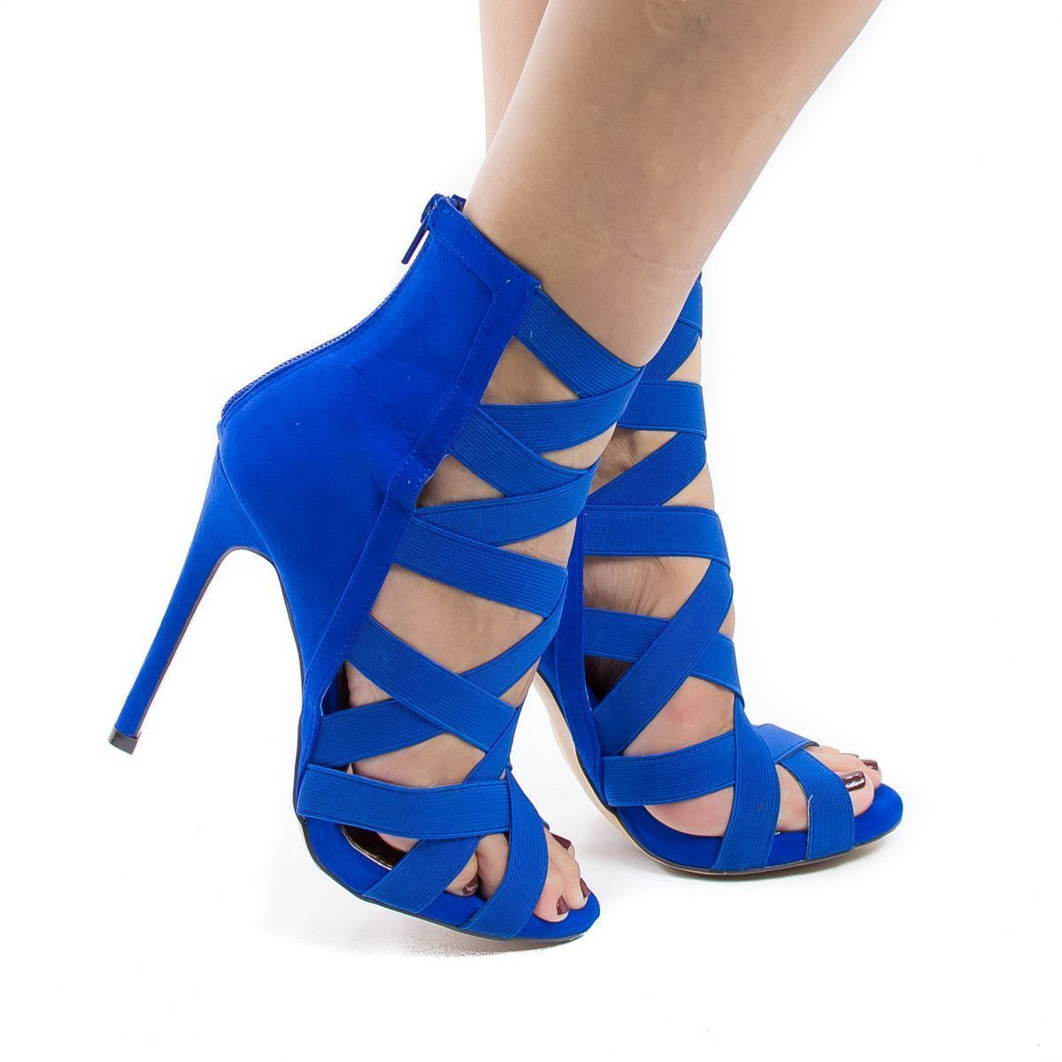 Make heads turn with these multi elastic strappy stiletto high heels, featuring a peep toe opening, contrast stitching, multi elastic straps, a back center zipper for easy wear and closure, a slightly #strappystilettoheels