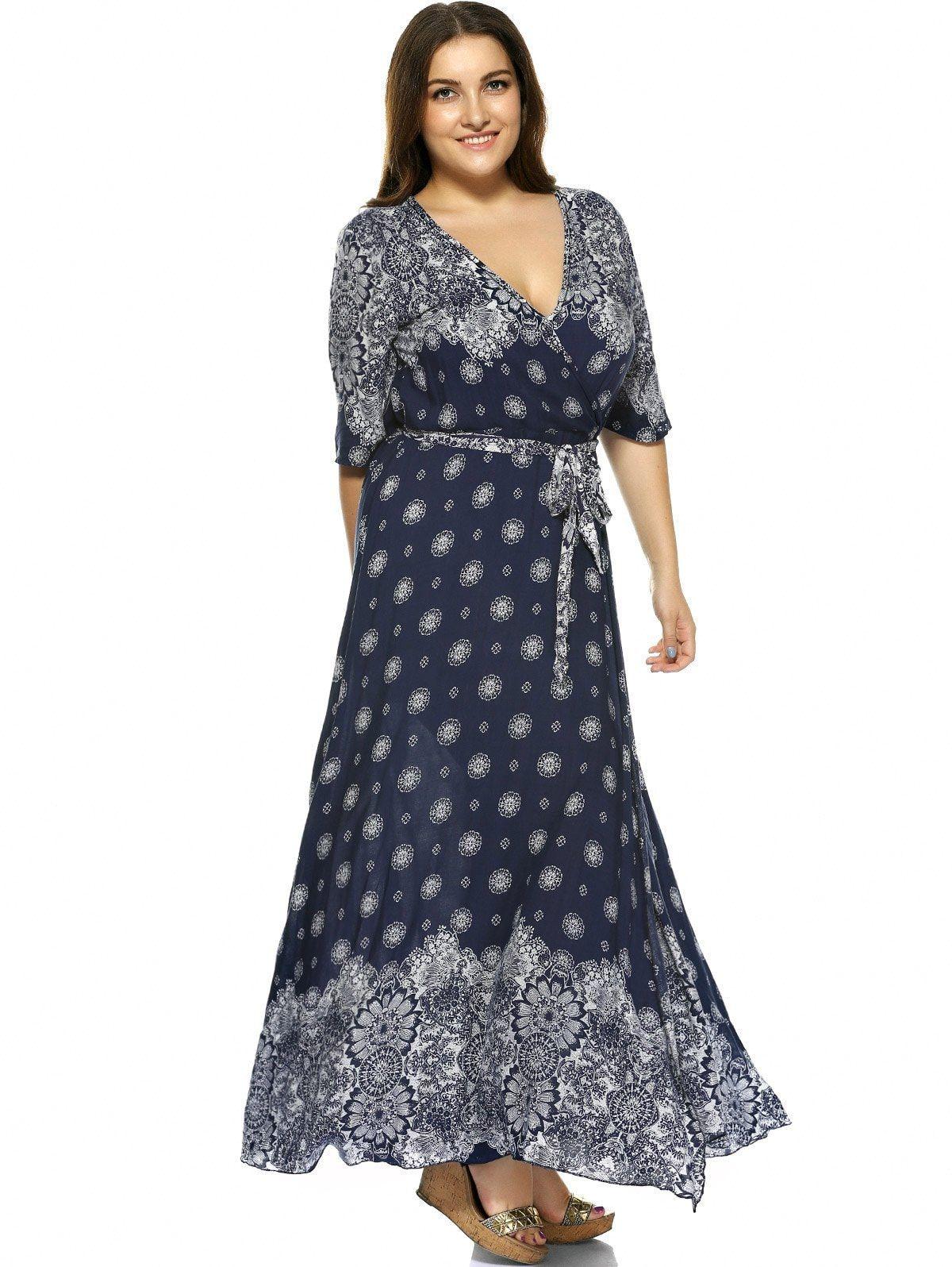 1d93edbc7068b Plus Size Boho Print Flowy Beach Wrap Maxi Dress Use Code  RGBF1 Get 25%  OFF Discount! Jan 8- Jan 14