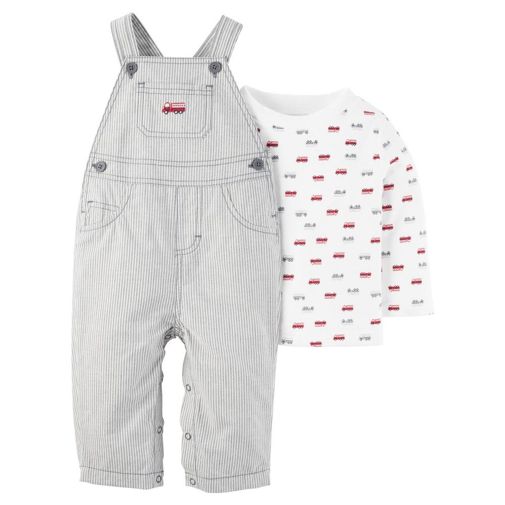 fc3a0f3e9e54 Baby 2 Piece Fire Truck Overall Set White Stripes 6M - Just One You ...