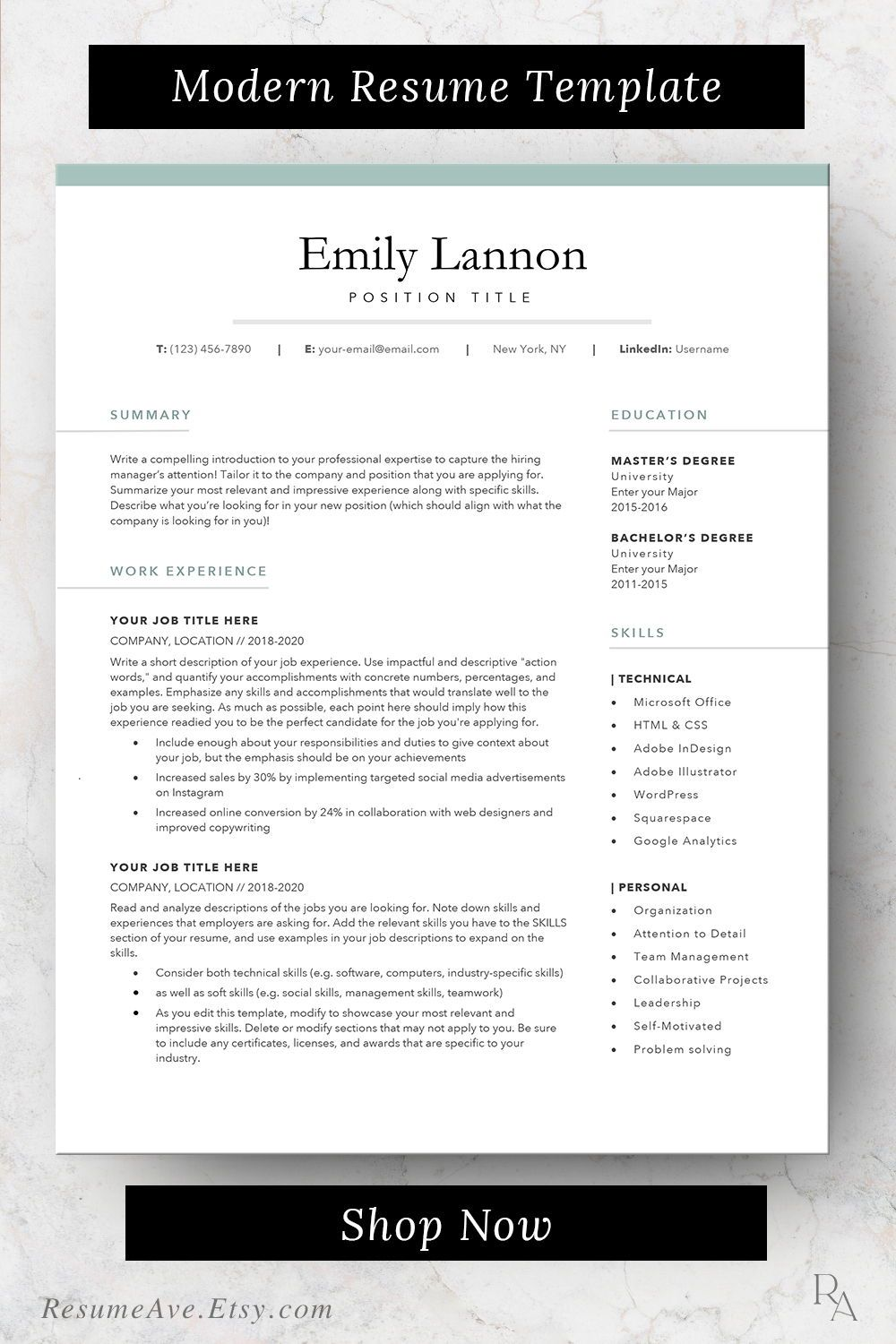 Feminine Resume Template Word With Green Border Simple Design Etsy Resume Template Word Teacher Resume Template Resume Skills List