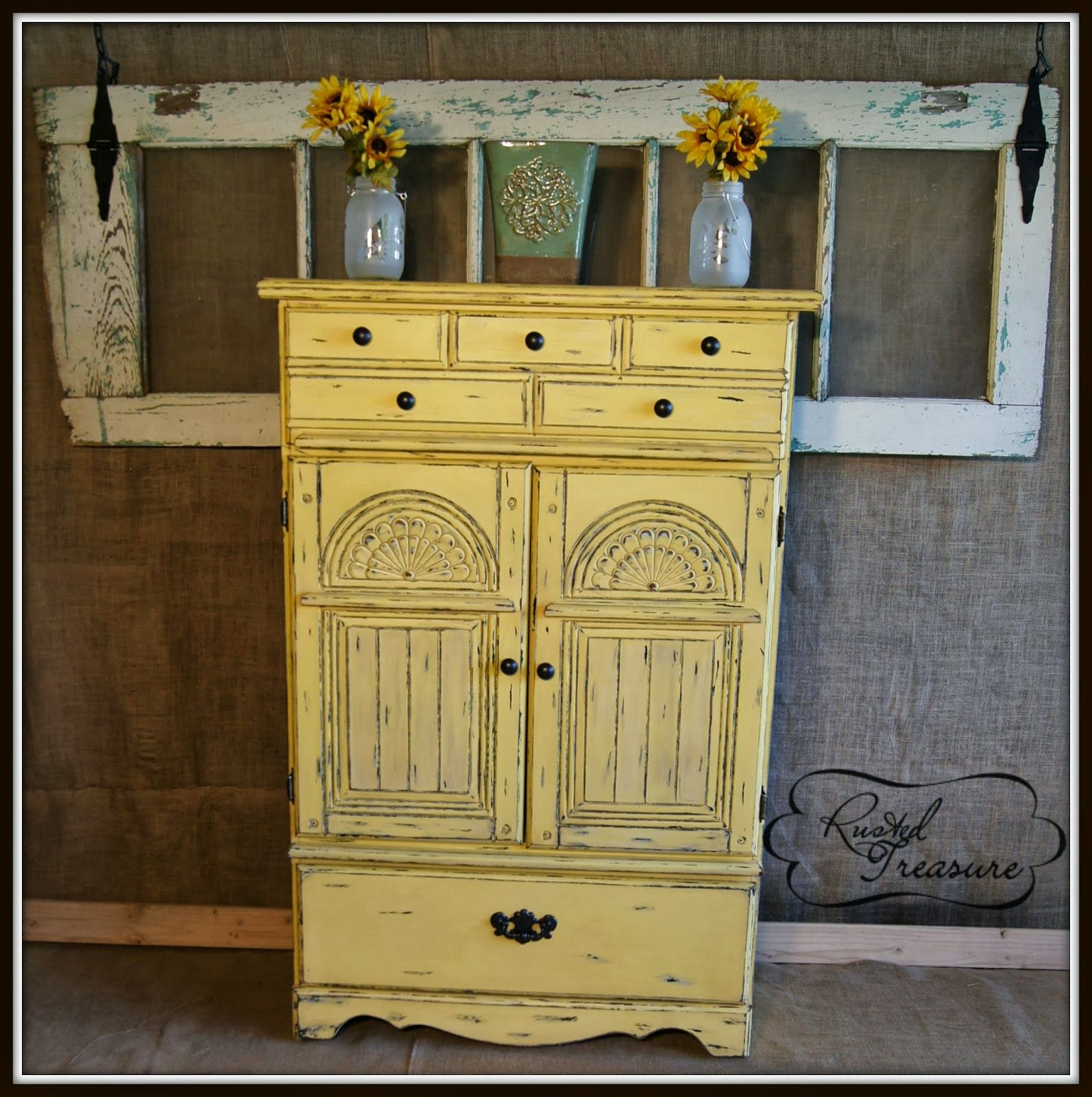 Distressed Yellow Armoire