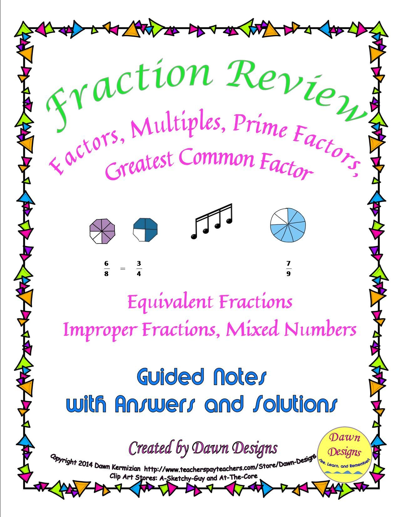 Fraction Review Of Factors Multiples Prime Factors Gcf
