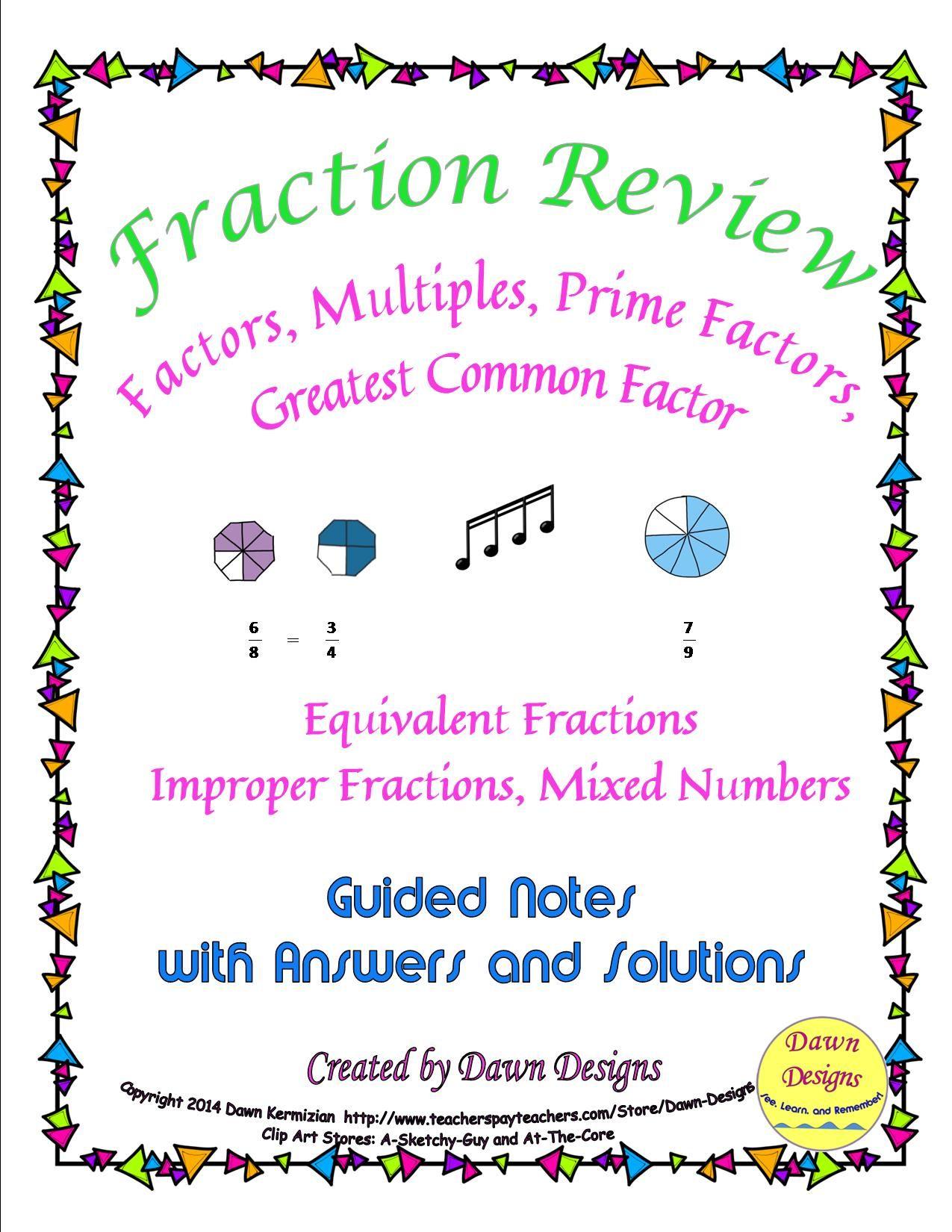 Fraction Review Of Factors Multiples Prime Factors Gcf