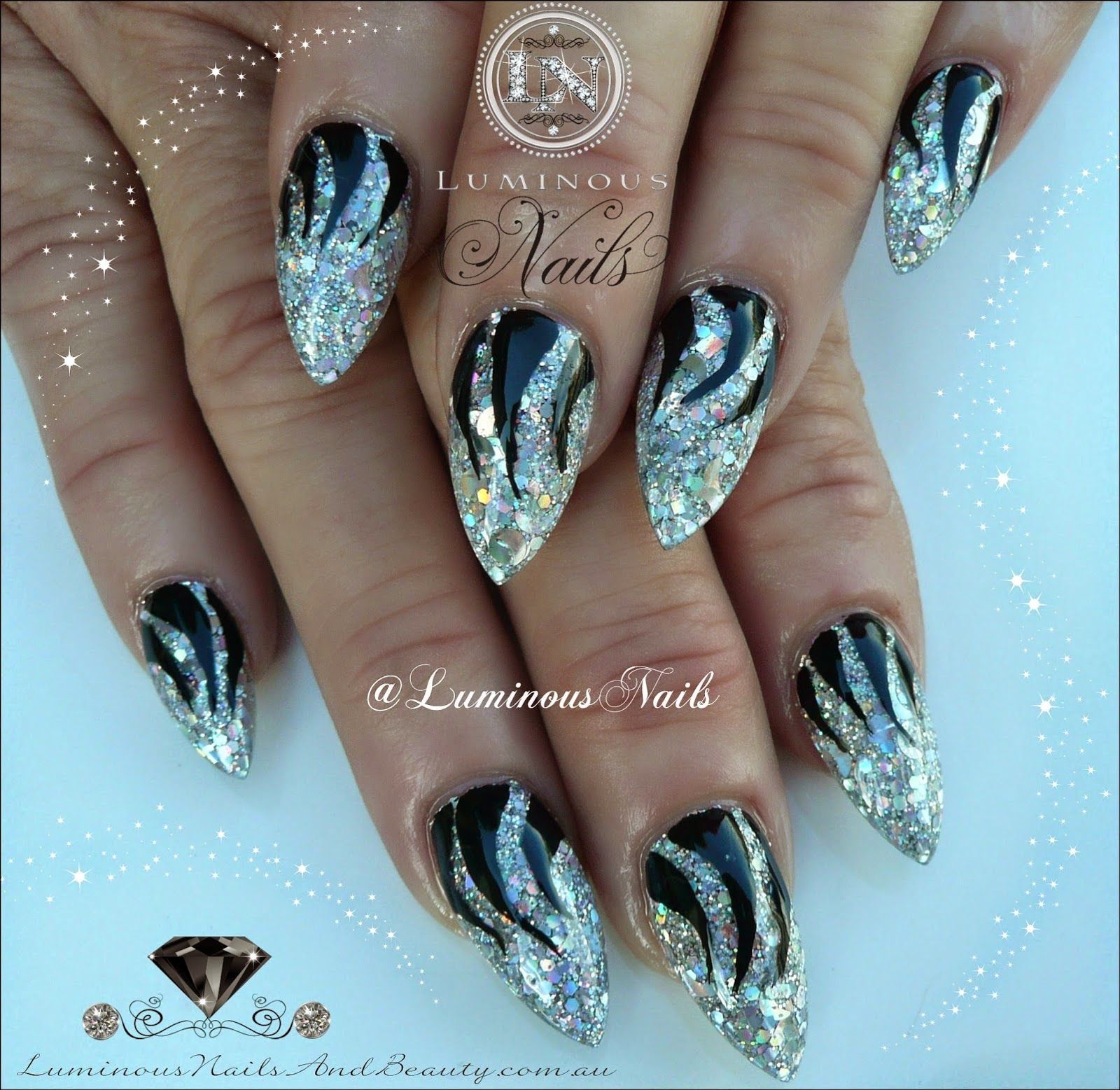 holographic silver & black nails sculptured acrylic with