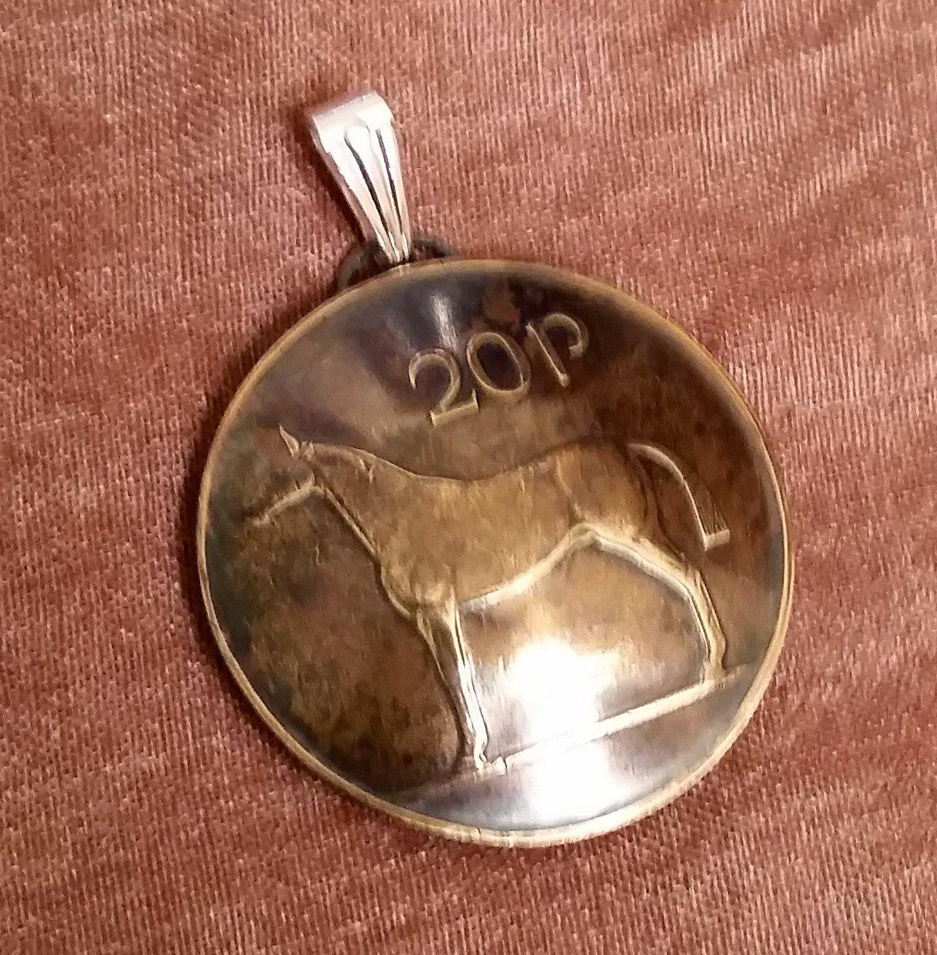 Irish Coin Pendant Celtic Horse 20 Pingin Vintage Necklace
