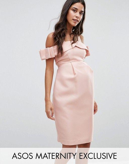 Compra Vestido para evento especial con hombros descubiertos y lazo de ASOS  Maternity en ASOS. Descubre la moda online.