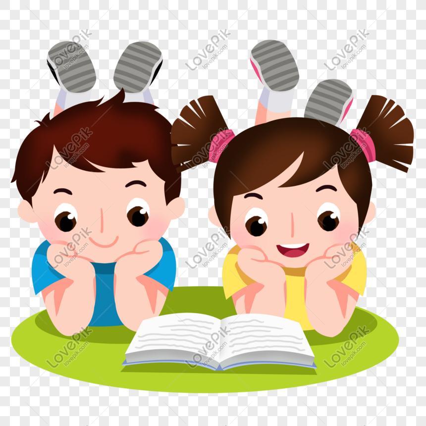 Nino Y Nina De Dibujos Animados Leyendo Un Libro Juntos Imagen Descargar Graficos Numero 401273728 Psd Imagen Formato Graphics Png Kartun Gambar Anak
