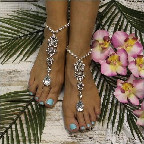 Silver crystal barefoot sandals for beach weddings. One of a kind barefoot sandal design, I will NOT make another. These silver rhinestone sandals look great
