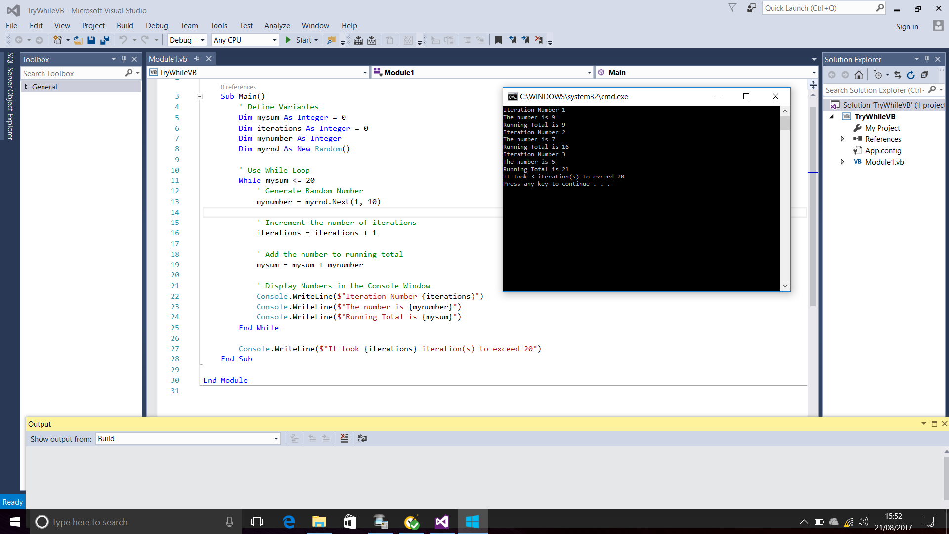 Screenshot Of Visual Basic Code That Uses The While Loop