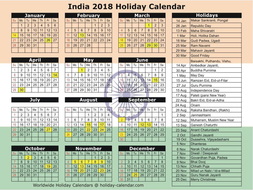 India 2018 / 2019 Holiday Calendar Holiday calendar