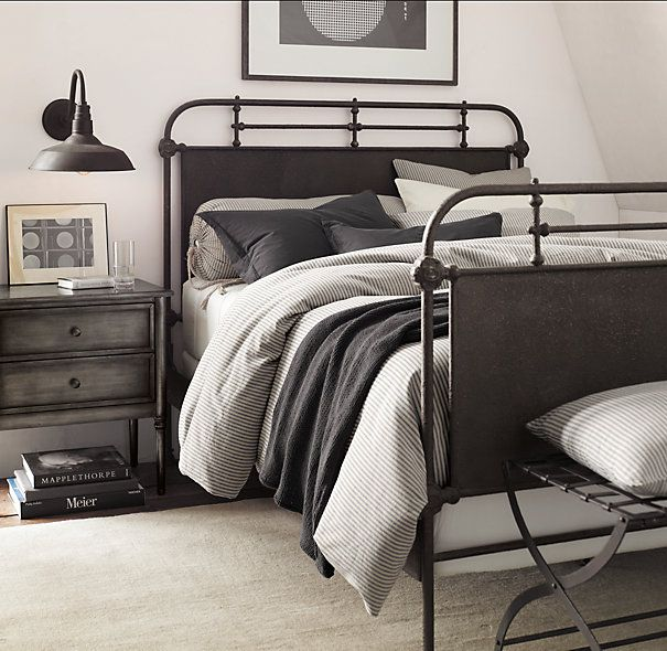 Decorating with ticking stripe fabric bed linens grey for Fabric for boys room