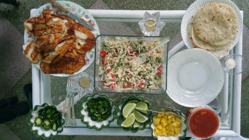 [Homemade] Grilled fish tacos sides of fresh...