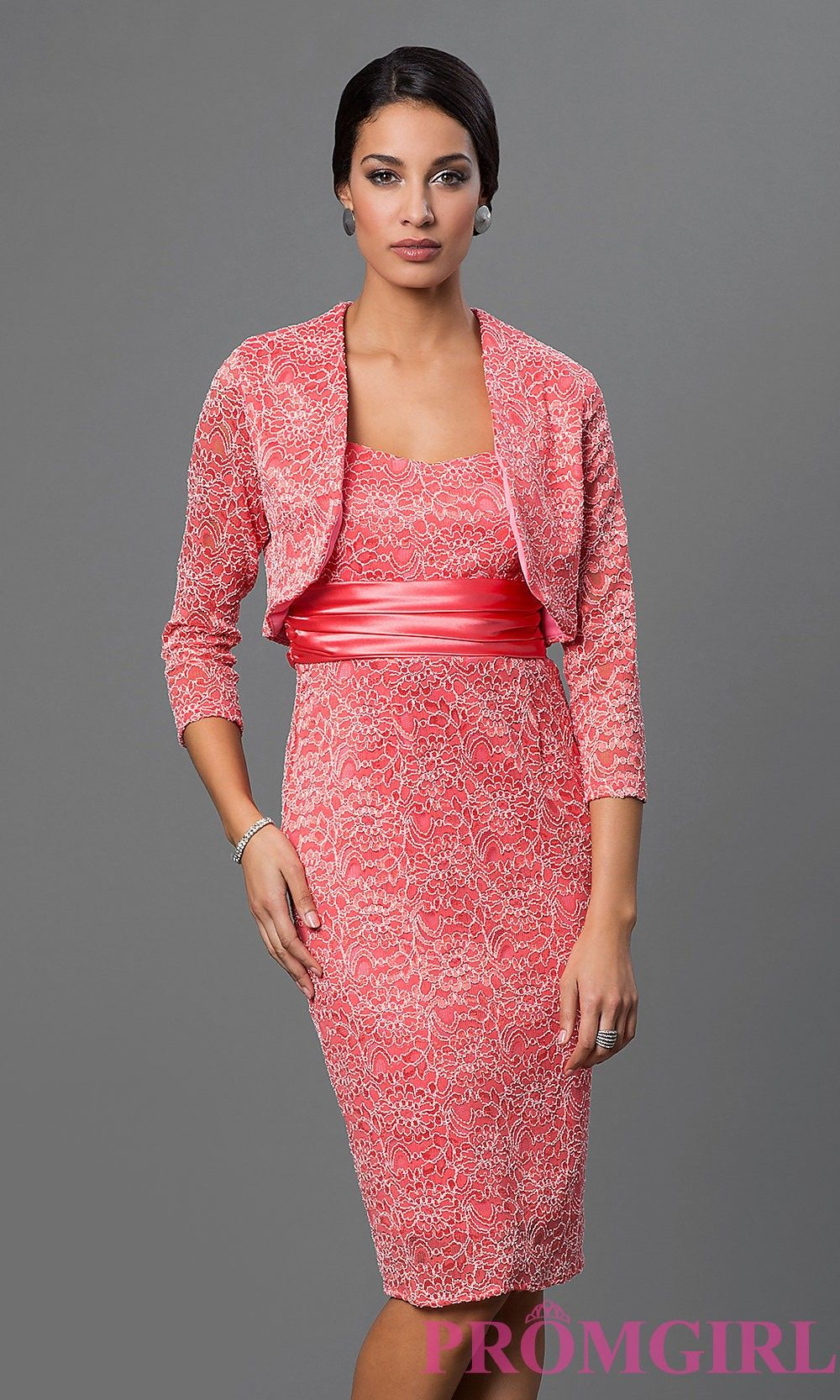 Lace Short Cocktail Dress with Bolero Jacket by Sally Fashion ...