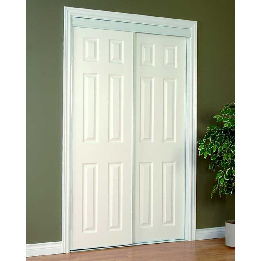 Reliabilt 48 In X 80 In White 6 Panel Prefinished Steel Sliding Door Hardware Included Lowes Com Sliding Closet Doors Closet Door Hardware Closet Doors