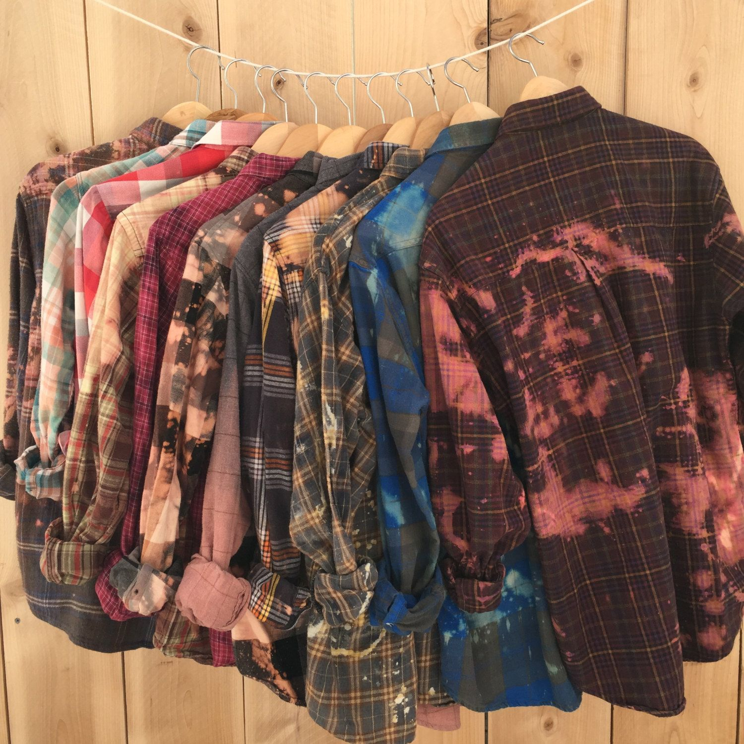 1b4d57b1aeba You Choose Distressed Flannels All Sizes Plaid Button Up Shirts, Soft,  Oversized Grunge Clothes, Bleached Flannel, Bundles, Bridesmaids Gift by  The Vintage ...