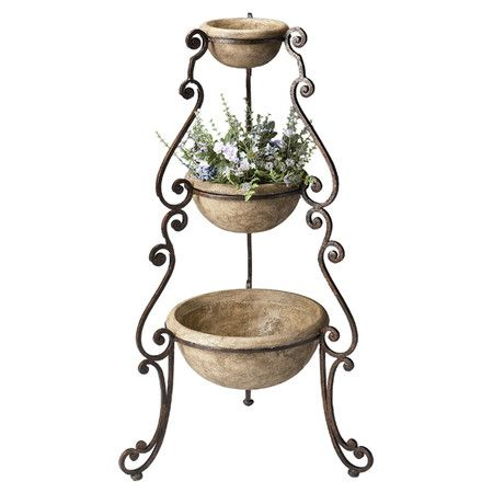 Raina Three Tiered Plant Stand With Scrolling Detail Product Planterconstruction Material Cast Stone And Metal