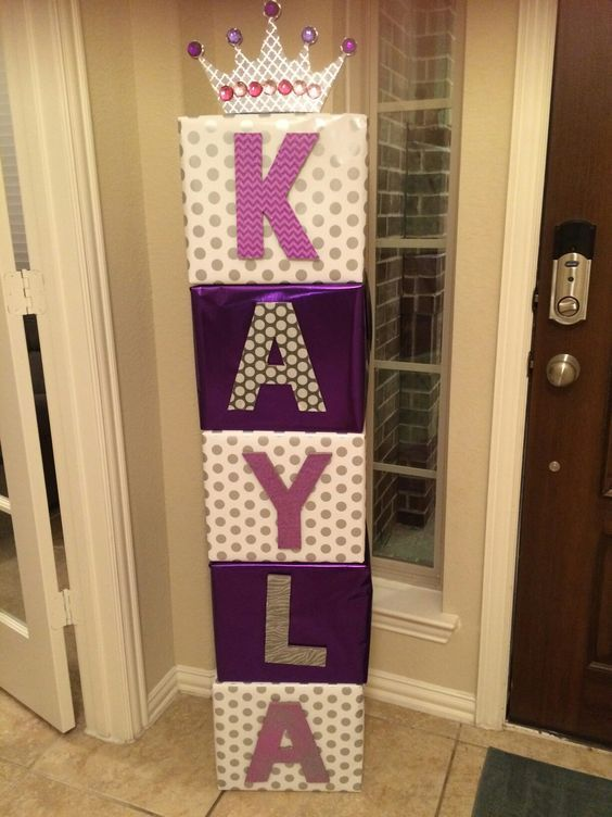 How To Make Baby Shower Boxes With Name : shower, boxes, Kayla, Spelled, Large, Cardboard, Blocks, Shower, Princess,, Simple, Shower,