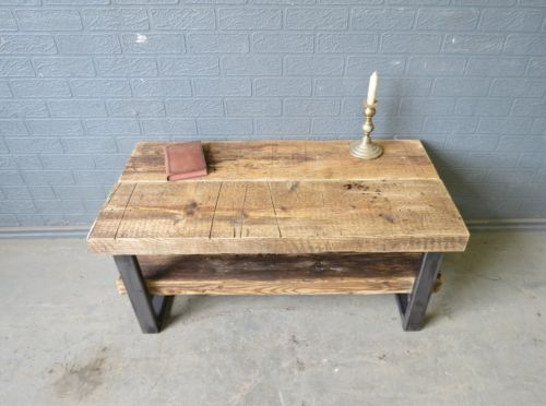 Reclaimed Industrial Chic Solid Wood Metal Tv Stand Coffee Table