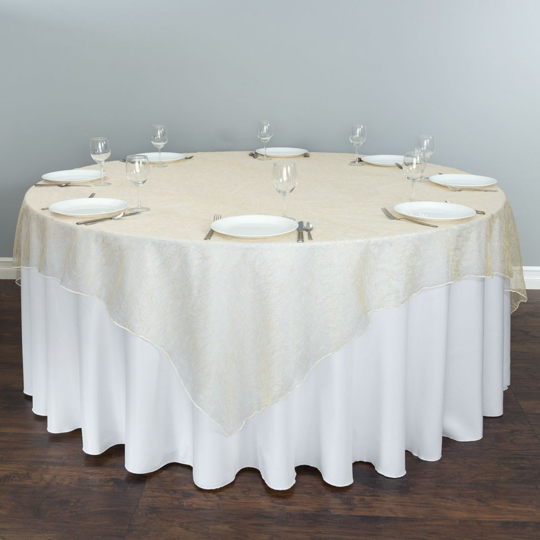 Ivory Web Organza Overlay Round Tablecloth Linen Table Linens