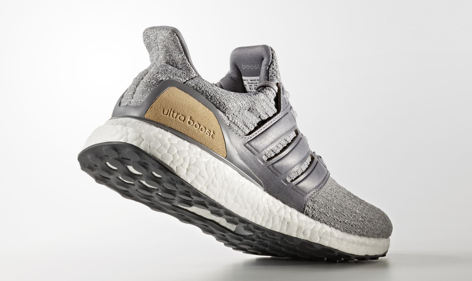 Adidas Ultra Boost 3 Grey Leather Suede BB1092 Heel