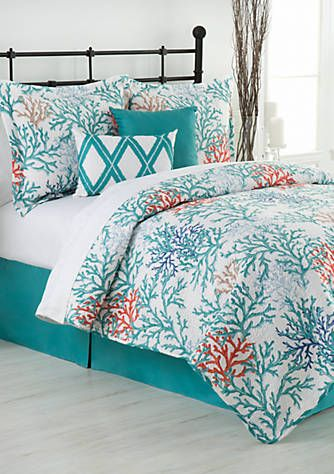 Home Accents Coral Reef Reversible Bed In A Bag Quilt Set Coastal Bedding Sets Coral Bedroom Rustic Dining Room Sets