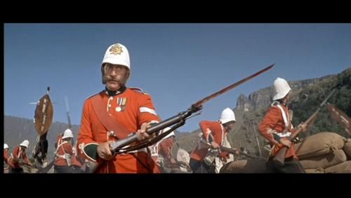 "Nigel Green as CSgt Bourne - Zulu (1964).  CSgt Bourne: ""Sir, sentries report the Zulus have gone. All of them! It's a miracle.""  Lt Chard: ""If it's a miracle, Colour Sergeant, it's a short chamber Boxer-Henry point-four-five caliber miracle.""  CSgt Bourne: ""And a bayonet, sir, with some guts behind it."""