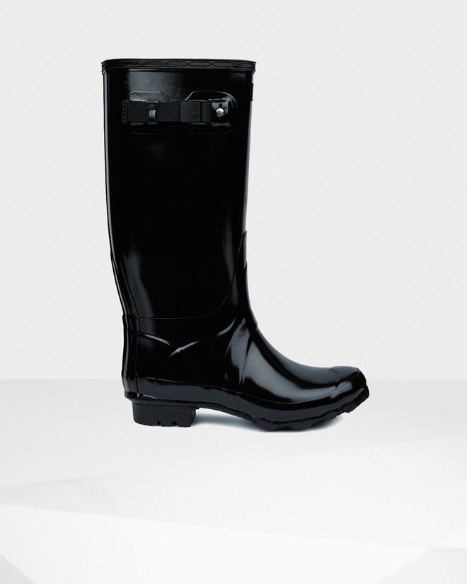 WFT1008RGL Hunter Huntress Gloss Rain Boot Black BLK NEW NIB