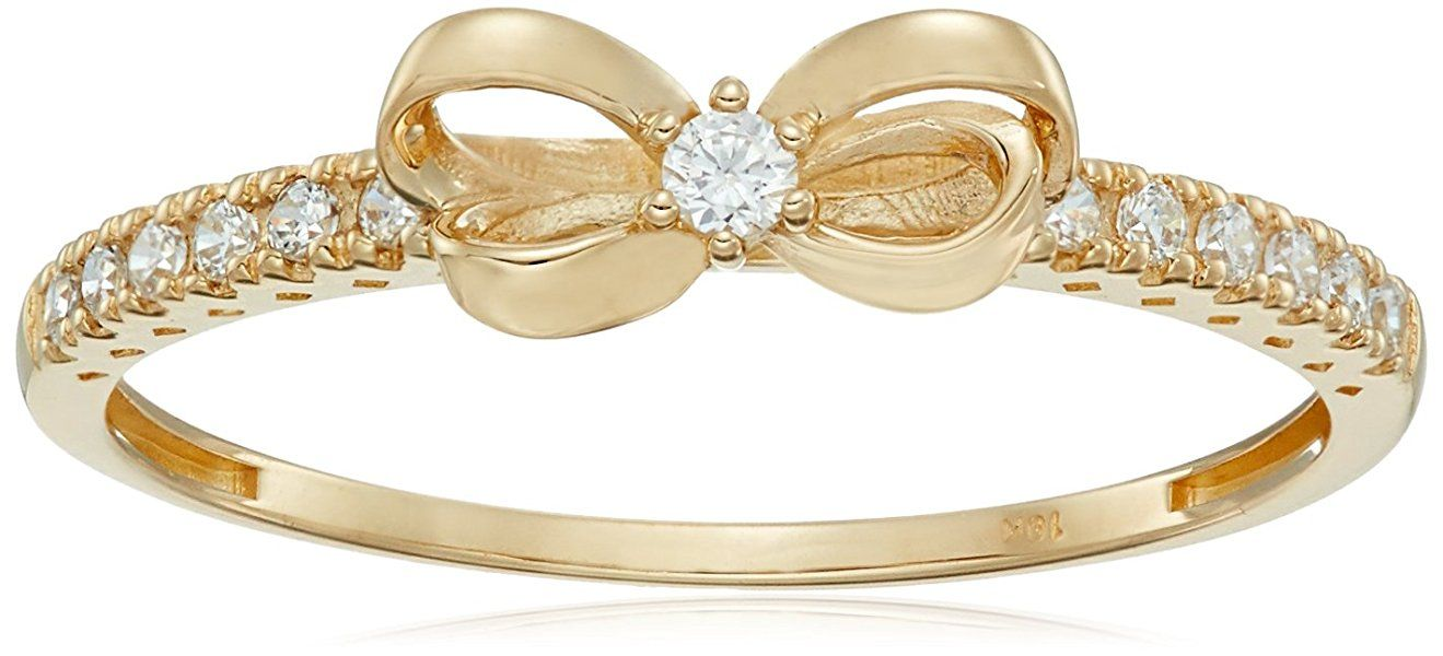 10k Gold Swarovski Zirconia Bow Ring, Size 5