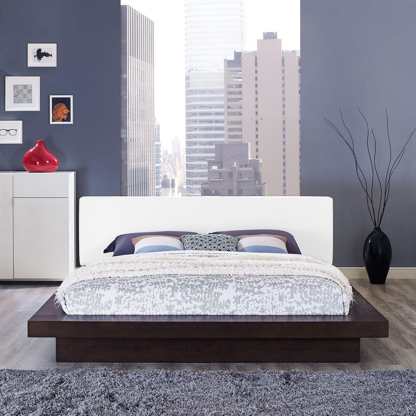 Modway Freja Vinyl Platform Bed in Cappuccino White, Beige ...