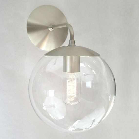 Bathroom Lighting Mid Century Modern modern mid century wall mount sconce - clear 8 glass globe - the
