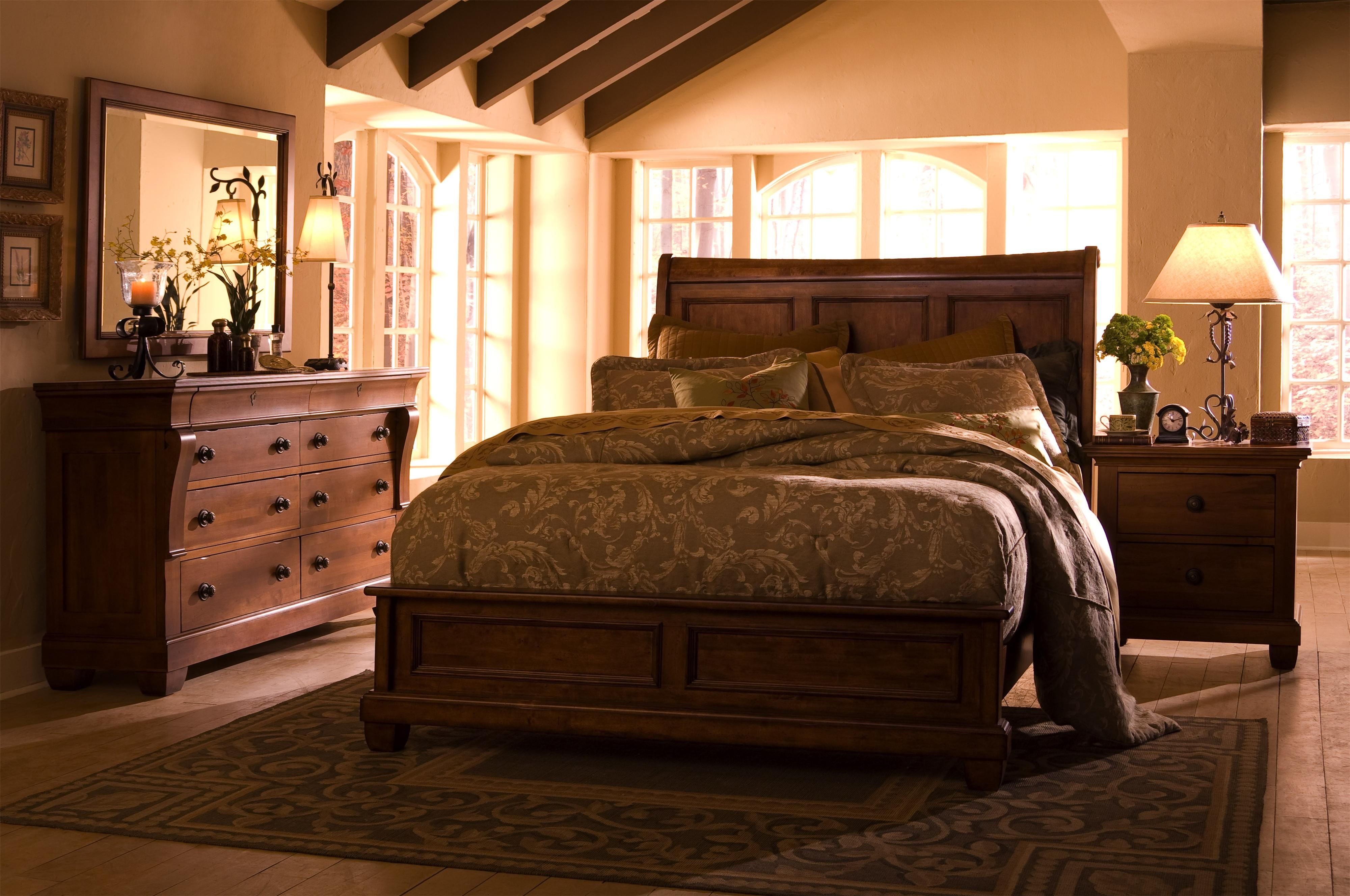 Tuscano King Low Profile Bed with Sleigh Headboard by