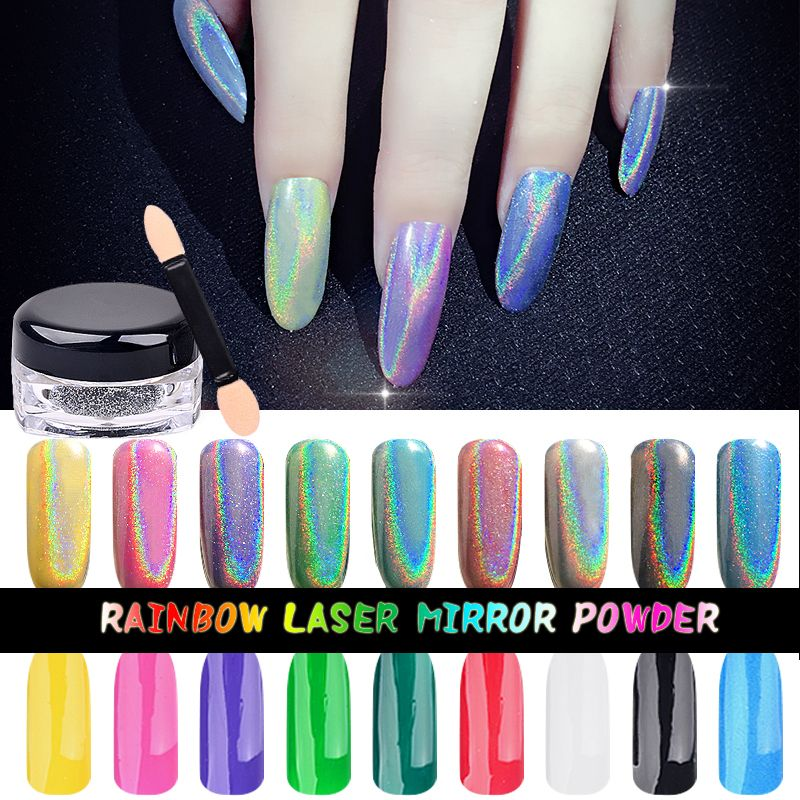 High Quality 1g Box Rainbow Mirror Powder Laser Silver Chrome Pigment Nail Glitters Sequins Diy Decoration Supplies Affiliate