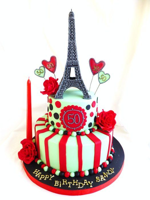 La Vie En Rose Parisian theme cake with Eiffel tower and red