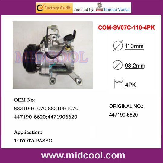 SV07C AC Compressor For TOYOTA PASSO OE#88310-B1070 88310B1070 447190-6620 4471906620