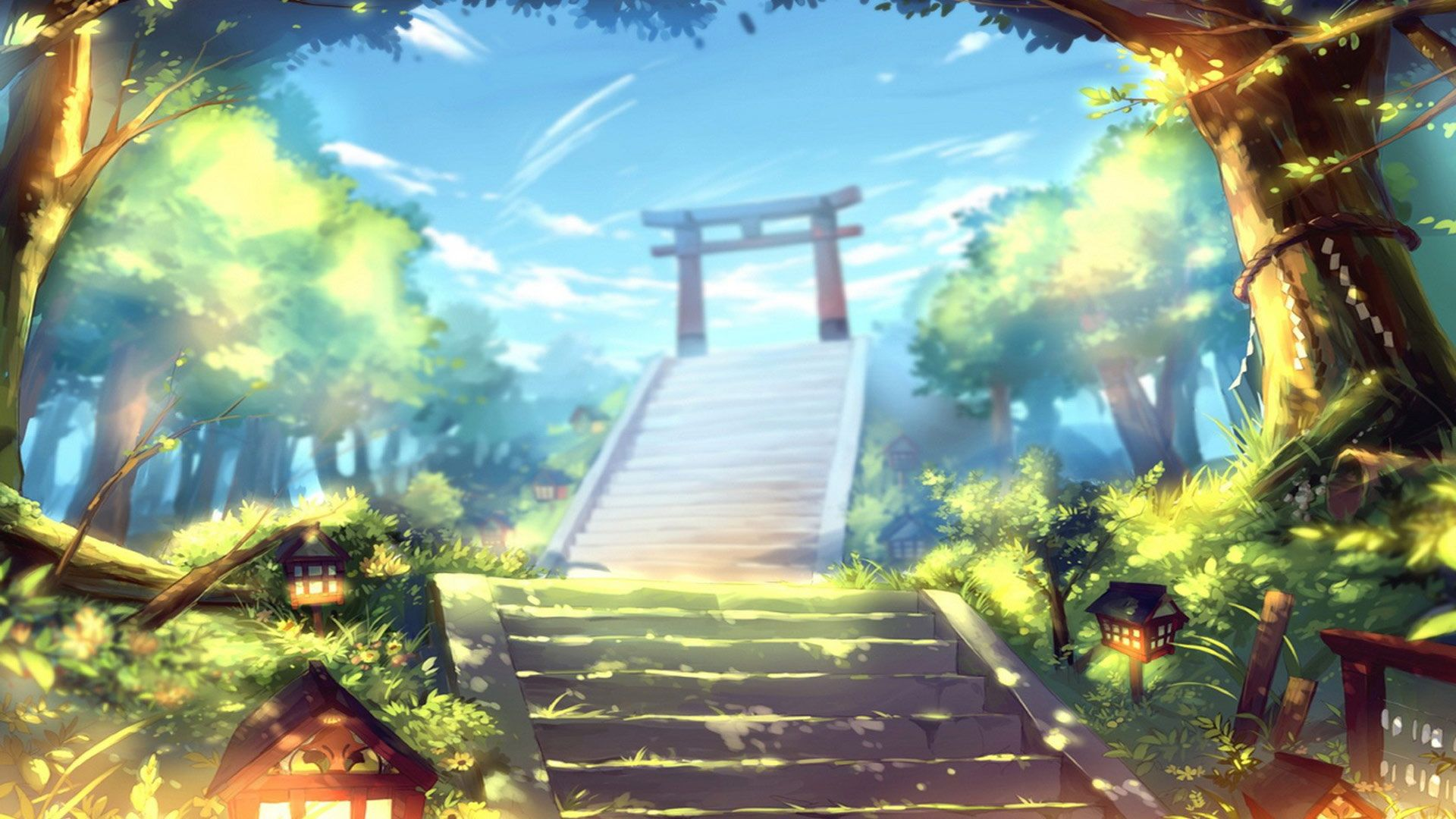 Free torii gate anime manga artwork computer desktop - Wallpaper computer anime ...