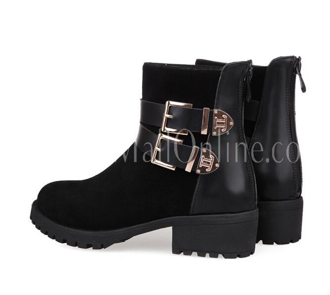 Fashion Leisure Belt Buckle Decorated Ankle Boots Black i5307121