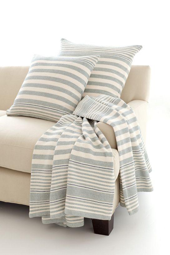 Rugby Stripe Light Blue Woven Cotton Throw Dash Albert Inspiration Dash And Albert Throw Blankets