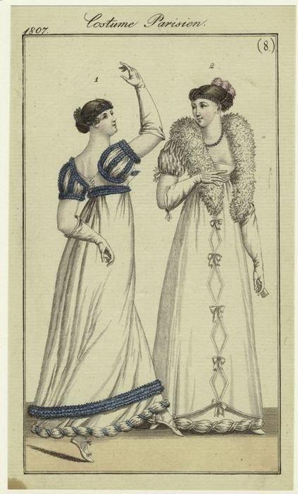 Costume parisien, 1807. Jane Austen Mode costume